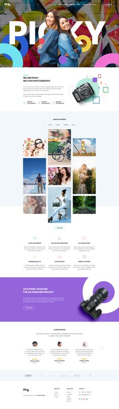 Buy Picky - Professional Photography Service Website Psd Template by Storm_and_Rain on ThemeForest. Picky is a creative, clean, modern, stylish psd template for any kind of photography service website. Web Design Gallery, Web Gallery, Unique Resume, Site Vitrine, Website Design Inspiration, Design Ideas, Page Design, Design Web, Latest Design Trends