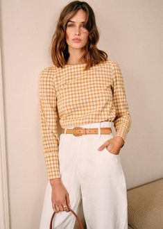 Lina Yellow Gingham Blouse by Sezane Paris Blouse En Coton, Style Parisienne, Tomboy Chic, Looks Vintage, Parisian Style, Timeless Fashion, Street Style, Style Inspiration, Casual Outfits