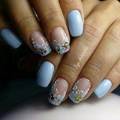 80 ideas to create the best Halloween nail decoration - My Nails Beautiful Nail Art, Gorgeous Nails, Pretty Nails, Flower Nail Art, Super Nails, Rhinestone Nails, Cool Nail Designs, Stylish Nails, Blue Nails