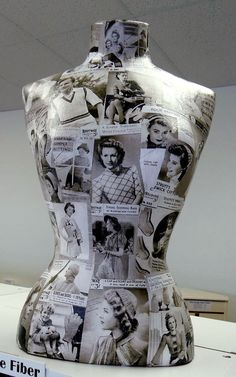 I love this.  I have old pictures of Sophia Loren, Audrey Hepburn, Marilyn Monroe and a few others, great inspiration for me to modge podge my personal dress form.