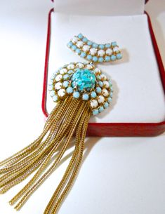 ALICE CAVINESS Brooch Turquoise Art Glass White by RenaissanceFair