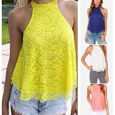 Sexy Round Neck Sleeveless Yellow Hollow Out Lace Blouse For Women Lace Outfit, Mellow Yellow, Summer Shirts, Lace Tank, Blouse Designs, Blouses For Women, Yellow Lace, Yellow Top, Female Shirts