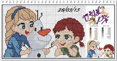 Elsa Anna et olaf Frozen Cross Stitch, Just Cross Stitch, Cross Stitch Charts, Cross Stitch Patterns, Disney Stitch, Frozen Pattern, Frozen Crochet, Pixel Crochet, Stitch Cartoon