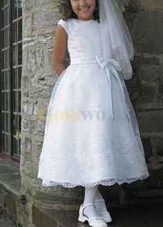 White Cap Sleeves Sash Embroidery Satin Organza First Communion Dress - US$114.99 - Goldwo.com