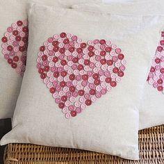 Button Heart Pillow Top