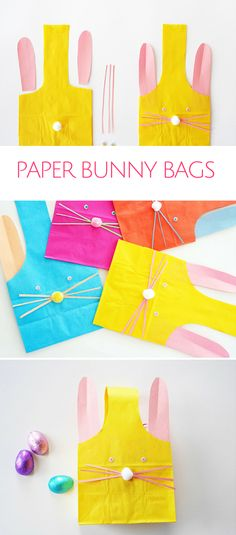 Adorable DIY Paper Bunny Bags. Cute and easy Easter favor bags to fill with Easter treats for kids!