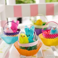 The hunt is over! Hand out Mini Easter Baskets to all your egg hunters! Whip up these mini bushels of cuteness with colorful baking cups, clear mini bowls, favors and sweets.
