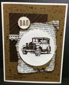 Handmade antique Ford Model T card using  the Guy Greetings Stamp Set from Stampin' Up!