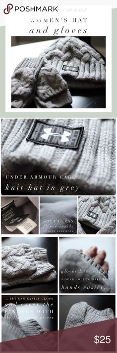 Under Armour Women's Winter ❄️ Hat and Gloves Super package of Under Armour women's hat and gloves is included in this deal.  They are like new (maybe Used 1-2x).  Still in great condition.  They are done in a beautiful grey cable knit and the hat has a polar fleece interior to keep head warm.  The gloves match and have exposed fingers for easier maneuvering of hands, but easily can be covered up with the flap that is buttoned back. Under Armour Accessories Gloves & Mittens