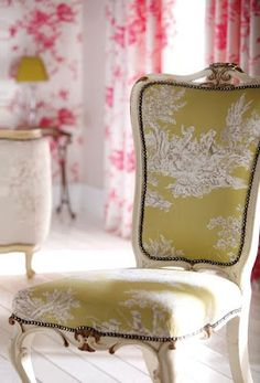 French furniture french fabric (i see a portion of the salon in greens & pinks very feminine & parisian inspired)