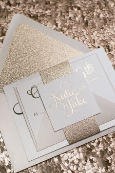 ADELE Suite // STYLED // Glitter Package, TO DIE FOR Rose Gold wedding invitations! Rose gold foil, Rose gold glitter, and blush envelopes! #letterpress #foilstamping