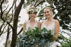 charlotte and bridesmaid with their foliage bouquets Bridesmaid Dresses, Wedding Dresses, Bridal Bouquets, Charlotte, Fashion, Bride Maid Dresses, Bride Dresses, Bride Bouquets, Moda