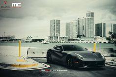 Matte Black Ferrari F12 On Vellano Wheels By MC Customs