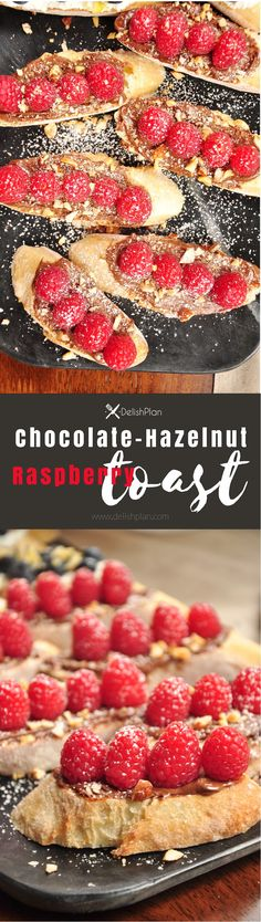 This quick and easy chocolate-hazelnut & raspberry toast makes a healthy and delicious snack or breakfast! Waffle Recipes, Donut Recipes, Dessert Recipes, Free Recipes, Desserts, Yummy Snacks, Yummy Food, Delicious Recipes, Yummy Treats