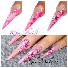 Step by step floral nailart from Reka Schmidt from Crystal Nails