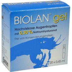 BIOLAN Gel Augentropfen:   Packungsinhalt: 20X0.45 ml Augentropfen PZN: 03706924 Hersteller: Santen GmbH Preis: 8,20 EUR inkl. 19 % MwSt.…