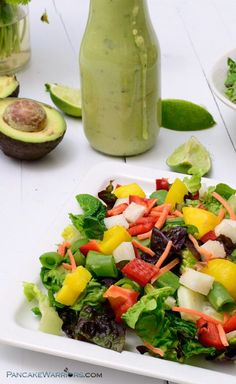 Perfect for lunch or dinner, this crunchy mango salad with avocado cilantro dressing is so simple to make. Vegan, gluten free, dairy free recipe!   www.pancakewarrio...