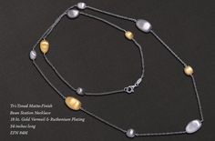 PURE by Boma electroform necklace with 18 kt. gold vermeil, ruthenium and satin finish silver.