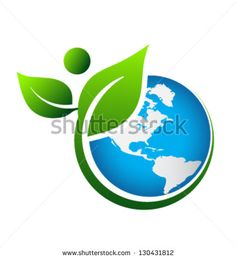 Green Earth logo vector image on VectorStock Environment Logo, Environmental Posters, Earth Logo, People Logo, People Icon, Earth Poster, Plant Logos, Water Logo, Logo Creation