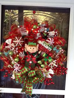 Elf in the Box light up Christmas Wreath Christmas by WreathsEtc