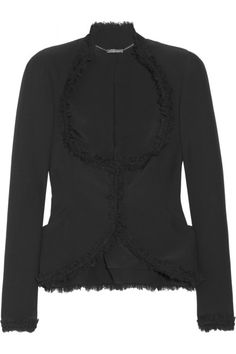 Alexander McQueen Bead and silk chiffon-trimmed crepe jacket