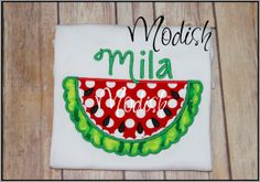 Girly Watermelon Custom Personalized Appliqued by SoModish on Etsy.