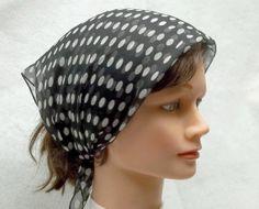 Vintage white and black polka dot scarf by recupefashionnstuff, $12.00