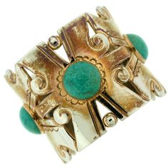 1930s William Spratling Sterling Silver and Turquoise Wide Cuff