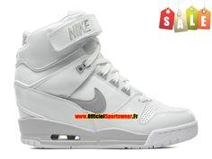 Nike Air Revolution Sky Hi GS Chaussures Montante Nike Pas Cher Pour Femme Blanc/Gris 599410-102