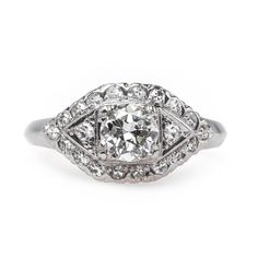 Classic vintage Art Deco engagement ring from Trumpet & Horn