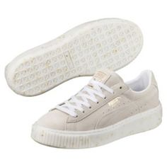 Thumbnail 1 of Suede Platform Celebrate Women's Sneakers, Puma White-Puma Team Gold, medium Puma Suede, Pumas Shoes, Shoes Sneakers, Rihanna Shoes, Puma Creepers, Color Tag, Snug Fit, Casual Looks, Footwear