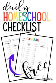 Free Daily Homeschool Checklist |free homeschool printables | plan your homeschool year with these colorful printables #homeschool #planners #freehomeschoolprintables Homeschool Curriculum, Homeschooling Resources, Homeschool Kindergarten, Learning Resources, World History Teaching, Daily Checklist, Lesson Planner, Thing 1, How To Start Homeschooling