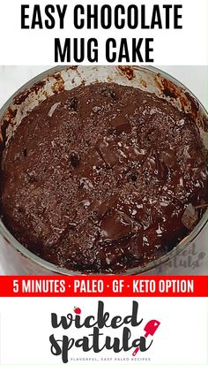 Almond Flour Paleo Chocolate Mug Cake Recipe - See how to make chocolate paleo mug cake in 5 minutes! This almond flour mug cake is rich, fudgy, and you only need 8 ingredients. The easiest paleo cake recipe ever! Paleo Cake Recipes, Paleo Mug Cake, Paleo Sweets, Paleo Dessert, Cupcake Recipes, Dessert Recipes, Free Recipes, Healthy Mug Recipes, Cup Desserts