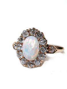 Edwardian Diamond And Opal Ring    c.1910