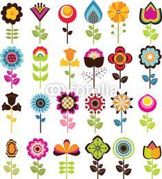 Sticker retro flowers - pink - tulip - petal • PIXERSIZE.com