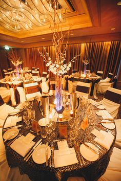 Bold leopard print linens for the reception