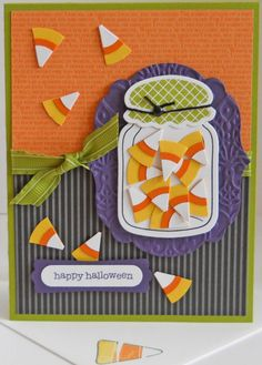 Candy Corn Jar / cute idea. Just punch & layer white, orange & yellow circles - then cut into triangles!