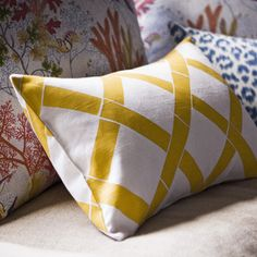Elvis Matinee - yellow faux bamboo print cushion cover -small by STEPH & GAIA