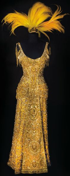 Sharaff Dolly gown-made with real gold thread and swakorski crystals. The most expensive gown made in Hollywood at the time and the most expensive item in Hello Dolly, at $10,000  (in 1960's dollars!)