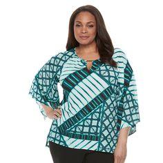 Plus Size Dana Buchman Printed Kimono Top, Women's, Size: 1XL, Med Green