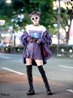 Japanese student Megumi on the street in Harajuku wearing a matching purple snakeskin print jacket and skirt by Dig Your Own Grave, a metal t-shirt from Faith Tokyo, Demonia boots, and. Tokyo Street Fashion, Tokyo Street Style, Japan Fashion, Tokyo Style, India Fashion, Hipster Grunge, Style Grunge, Soft Grunge, Grunge Outfits
