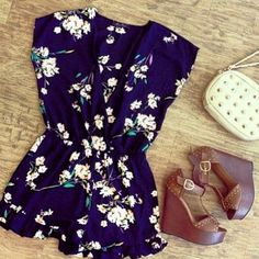 romper and tan wedges