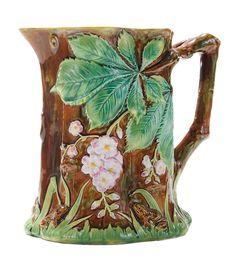 George Jones Majolica Frog Jug with Chestnut Blooms Glazes For Pottery, Pottery Vase, George Jones, Painted Jars, Vintage Pottery, Clay Art, Earthenware, Ceramic Art, Decoration