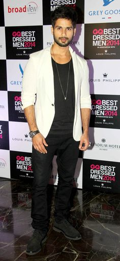 Shahid Kapoor at GQ's Best Dressed Men 2014 party. #Style #Bollywood #Fashion #Handsome