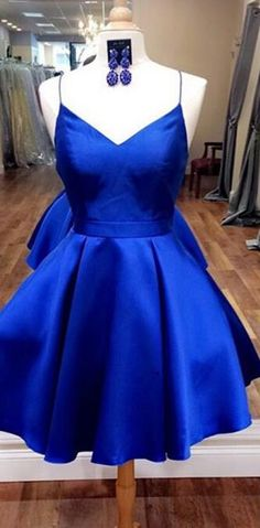 knee length spaghetti straps green homecoming dresses blue homecoming dresses · PeachGirlDress · Online Store Powered by Storenvy Royal Blue Homecoming Dresses, Open Back Prom Dresses, Dresses Short, Hoco Dresses, Dance Dresses, Pretty Dresses, Sexy Dresses, Beautiful Dresses, Royal Blue Short Dress