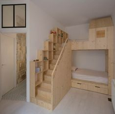 Loft : Appealing Small Loft Bedroom with Oak Wooden Loft Bed also Completed with Bathroom Inside. Retro Style Interior of Loft in Paris by Maxime Jansens Loft Bunk Beds, Bunk Beds With Stairs, Kids Bunk Beds, Bedroom Loft, Diy Bedroom Decor, Bedroom Furniture, Kids Bedroom, Trendy Bedroom, Luxury Furniture
