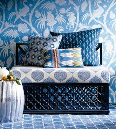 Blue Wallpaper for the powder room.