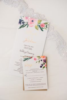 Floral wedding program and invitation suite - Ghent New Life Providence Church Wedding and Lesner Inn Reception