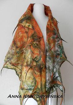 Felted scarf handmade  AUTUMN LEAVES