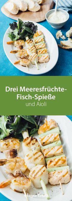 Drei Meeresfrüchte-Fisch-Spiesse und Aioli #grillen #meeresfruechte #fisch